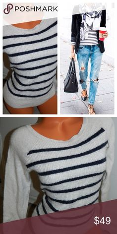 J. CREW Striped Nautical SWEATER Large BLUE White So Chic!! Size Large. In gentle pre-owned condition. Wool blend. J. Crew Sweaters