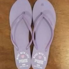 PINK by Victoria's Secret Flip Flops Purple flip flops PINK by Victoria's Secret, EXCELLENT CONDITION, worn once so bottom is a little dirty but no other damage or dirt otherwise! MAKE AN OFFER OR BUNDLE!!! PINK Victoria's Secret Shoes