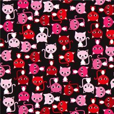 black fabric with colourful cats Robert Kaufman kawaii 2