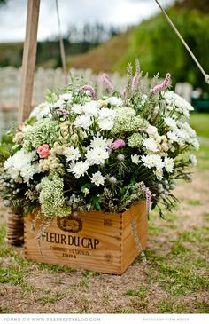 Flowers in crate