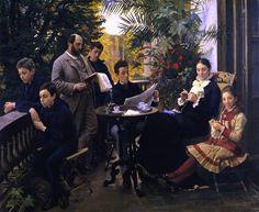 """""""PORTRAIT OF THE HIRSCHSPRUNG FAMILY"""", by Peder Severin Kroyer, c. 1881"""