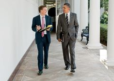 BEST FOOT FORWARD Michael Lewis and President Barack Obama in the Colonnade of the White House, heading toward the Oval Office., Official White House Photograph by Pete Souza.