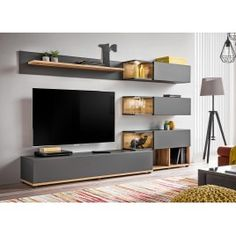 Details About Simi Anthracite Modern Entertainment Center Living Room Wall Unit in The Most Living Room Entertainment Centre - Home Design Ideas Entertainment Wall Units, Living Room Entertainment Center, Entertainment Furniture, Entertainment Products, Living Room Wall Units, Design Living Room, Living Room Modern, Tv Cabinet Design, Tv Unit Design
