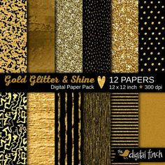 Gold foil, glitter and shine paper pack, for commercial and personal use. Black and gold, glitter and shine for a sophisticated, luxurious look!