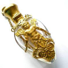 Antique glass chatelaine scent perfume bottle w/ gilt brass boy angel overlay | eBay