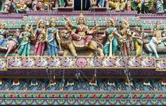Colorful Indian Church roof.  Oriental church roof full of  hindu gods. - Colorful Indian Church roof.  Oriental church roof full of  hindu gods.