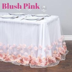 Check out the deal on 17 ft. Tulle Rose Table Skirt Blush Pink at Linen Tablecloth Tulle Table Skirt, Gold Dessert, Mo S, Pink And Gold, Blush Pink, Event Decor, Wedding Table, Wedding Decorations, Wedding Centerpieces