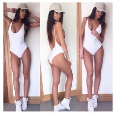 White retro style high hip low back vintage one piece swimsuit