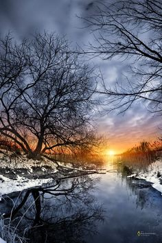Sunrise in Brest, Belarus, trees, water, reflections, beauty of Nature, clouds, Winter, snow, season, awesome view, beautiful, peaceful, sunbeams, sparkles, photo