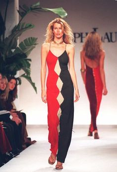 This tri colored dress was designed by Ralph Lauren 1997 .