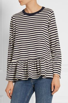 The Great | The Baggy ruffled striped cotton-jersey top | NET-A-PORTER.COM