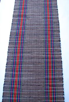 Woven by my mother. Her rugs are made on an 18th century loom. They are beautiful and durable.   HANDWOVEN RAG RUG  Cotton Farm House Stripe 28 x  84 by Rebecca Francis