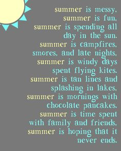 """Just a Touch of Crazy: """"Summer Is"""" Poem Printable"""