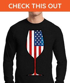 Awkward Styles Men's USA Wine Glass Long Sleeve T shirt Tee Gifts for 4th Of July Party American Flag Black L - Food and drink shirts (*Amazon Partner-Link)