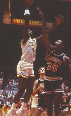 A member of the All-Century Team, Jeff Grayer recorded 2,502 points for Iowa State from 1985-1988. He became the first Cyclone men's basketball player to represent the United States on an Olympic team and  his number is retired at Hilton Coliseum.