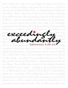The Blogging Pastors Wife: Printable Scripture Art - Exceedingly Abundantly