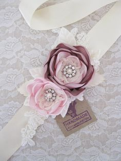 Blush Pink Bridal Sash. Bridal Blush Pink Dusty Pink Flower Sash by RomanticARTlife