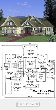 House Plan 42652 at FamilyHomePlans.com. Nice rambler plan with 1971 sf... - a grouped images picture - Pin Them All