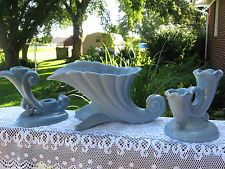 BLUE ABINGDON POTTERY--DOUBLE SCROLL CANDLE HOLDERS & MATCHING FLOWER VASE