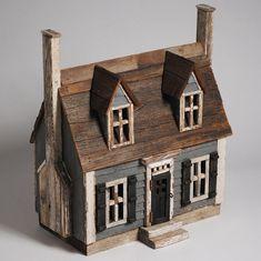 New England Cape Cod - Miniature Architectural Wood Folk Art House