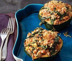 Acorn Squash With Kale and Sausage. The Skinny: 376 calories per serving, 17 g fat (4 g saturated), 47 g carbs, 7 g fiber, 17 g protein.