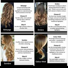 A good reference for understanding these 4 different terms! #Balayage #ombre…