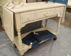 Tea Cart painted with Annie Sloan Chalk Paint Old Ochre & dark waxed.