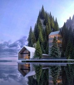 Alexander Nerovnya Architecture by the Lake - beautiful places - Arquitectura Architecture Design, Cultural Architecture, Contemporary Architecture, Amazing Architecture, Contemporary Houses, University Architecture, Contemporary Design, Architecture Interiors, Building Architecture