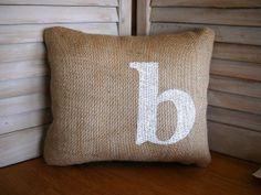 Initial Burlap Pillow FREE SHIPPING 12 x by FannyElizabethDesign, $30.00