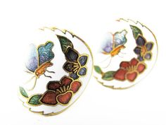 Vintage Earrings Cloisonne Butterfly Flowers Curved  by MyChouchou, $7.50