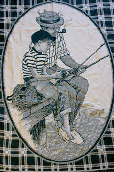 Father Son Fishing Woven Tapestry Throw Blanket Green Dock Gear Pipe Water #