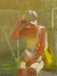 Sally Strand . Girl whith a Sun Hat . Pastel on paper