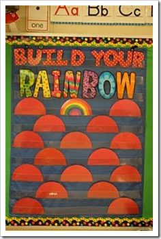 Good behavior chart. Each time child is caught going the extra mile following the rules etc they get a piece of rainbow.