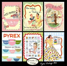 Pyrex Vintage Ads Collage Sheet Scrapbooking by lindakdesign, $4.99