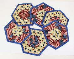 Hexagon Patriotic Quilted Coasters, Set of Six, Quilted Red White Blue Country Mug Rugs, 4th of July Decor, Quiltsy Handmade Patchwork