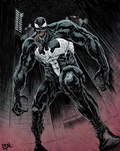 But with Venom is difficult to stop. Added some simple color to it but I think it looks really cool. Comic Book Villains, Marvel Villains, Comic Book Characters, Marvel Characters, Comic Character, Venom Comics, Marvel Venom, Dc Comics, Lego Marvel