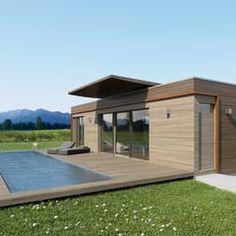 Moving House - Rendering Holzplatten - Fassade inkl. Pool: moderne Häuser von Pilzarchitektur
