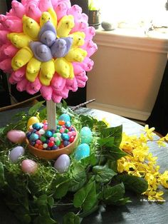 I wouldn't use peeps (my kids don't approve) but what a cute twist on easter baskets!