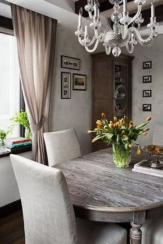 small dining room, grey, wood, neutral, classy