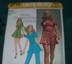 Simplicity Vintage Pattern 9714 Contemporary Fashion Size 12 by vintagecitypast on Etsy