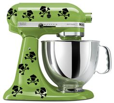 KitchenAid mixer art, 8 Skull cupcake decal. $5.99, via Etsy. Clearly I need this. And a KitchenAid to put it on.