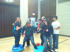 Mission: Impossible | The floor is lava, and players use random items to cross the gym. Come up with a variety of races, such as teams, pairs, boys vs. girls, etc.