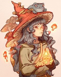 art inspiration The Witch & her familiar. Lil Backstory: The Mushroom witch is a student studying healing magic. Mushroom Drawing, Mushroom Art, Art Drawings Sketches, Cool Drawings, Cartoon Drawings, Witch Drawing, Arte Indie, Arte Sketchbook, Witch Art