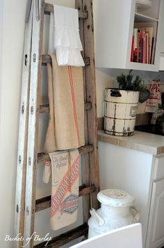Old Ladder in a Vintage Farmhouse Kitchen