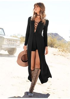 LACE UP ROMPER, LACE UP TALL BOOT, KNOT DETAIL FLOPPY HAT
