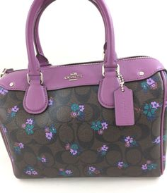 83e4feb43980 New Authentic Coach F59461 Mini Bennett Satchel Handbag  Shoulder Bag in  Ranch Floral Print Brown