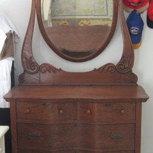Antique Oak Dresser With Large Oval Mirror