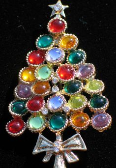 "Lavendar Green Red Yellow Multi Color Stone Christmas Tree Pin Brooch 2 1 2"" LRG 