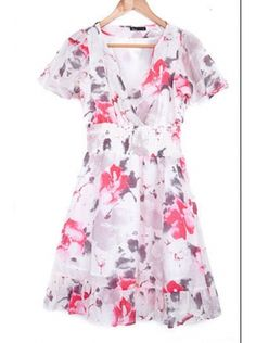 white short sleeve high waist floral print dress