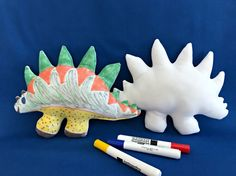 Anthony, age 8, has a stuffed Stegosaurus to color. He has a real thing for creative toys, crafts and Dinosaurs so this is perfect for him. When hes done he can just wash it in the sink or bathtub and lay it out to dry. Or Mom can put it in the washer and dryer and even add some bleach if she wants.  Anthony likes the 3 markers that were enclosed but had some other washable markers to add more colors. Any washable marker works great! 📌 Let me know on your order form which 3 colors youd like…